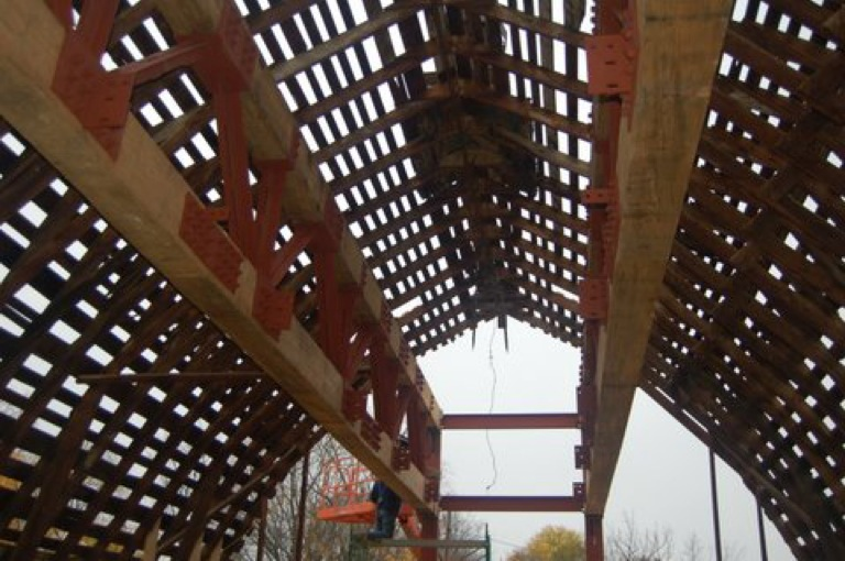 Roof of Barns of Rose Hill During Construction