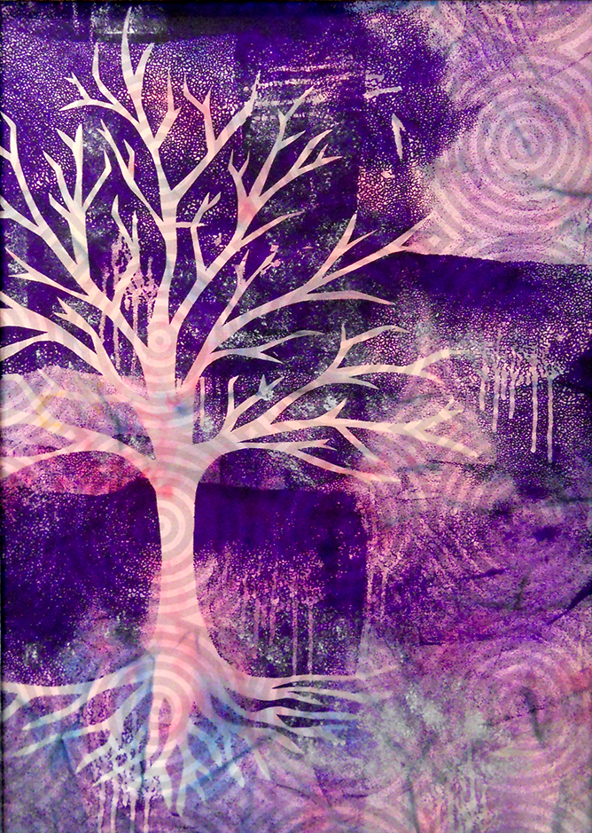 Norma Fredrickson Fiber Art - Tree in Purple